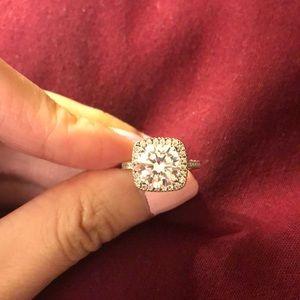 CZ Diamond Cushion Cut Ring